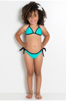 Biquini Infantil Liso de Amarrar com Bojo (Verde Esmeralda) | Ref: DVBQ30-002