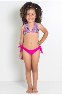 Biquini Infantil Cortininha com Calcinha Lisa (Azul com Cogumelos / Rosa Pink) | Ref: DVBQ33-002