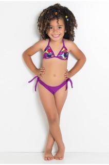 Biquini Infantil com Bojo Calcinha Lisa (Frutas Roxas e Vermelhas / Roxo) | Ref: DVBQ37-003