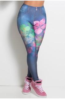 Legging Jeans Flores Sublimada | Ref: KS-F1068-001