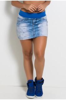 Saia Jeans Sublimada com Cós Azul Royal | Ref: KS-F1116
