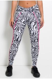 Legging Estampada Cós Médio com Vivo (Tigre Preto e Branco / Rosa Pink) | Ref: F1164-001