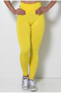 Calça Legging Tecido Bolha Invertida (Amarelo | Ref: KS-F119-001