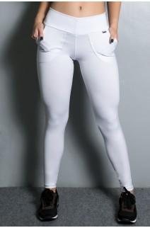Calça Legging Lisa com Bolso (Branco) | Ref: KS-F146-006