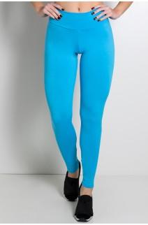 Calça Legging Lisa com Fecho na Perna (Azul Celeste) | Ref: F157-004
