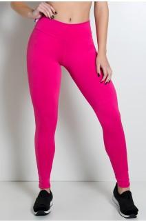 Calça Legging Lisa com Fecho na Perna (Rosa Pink) | Ref: KS-F157-005