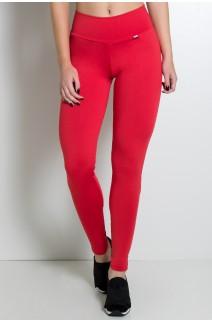 Calça Legging Lisa com Fecho na Perna (Vermelho) | Ref: F157-006