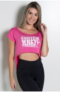 Camiseta Fitness Jennifer Contem Whey Protein (Rosa Pink) | Ref: KS-F160-002