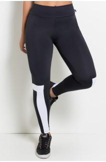 Calça Legging Duas Cores com Detalhe na Perna (Preto / Branco) |Ref: KS-F1875-001