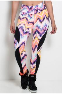 Calça Legging Naomi Estampada com Detalhe Liso | Ref: KS-F184