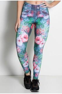 Legging Jeans Folhas e Flores Sublimada | Ref: KS-F1852-001
