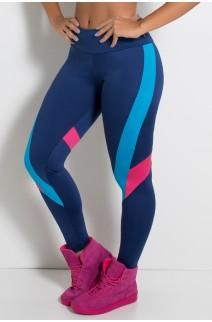Legging Três Cores com Recortes nas Pernas (Azul Marinho / Azul Celeste / Rosa Pink) | Ref: KS-F2015-002
