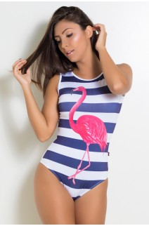 Body Liso com Frente Sublimada (Listrado com Flamingo) | Ref:F2177-001