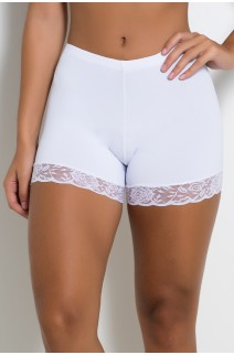 Mini Short Liso com Renda (Branco) | Ref: KS-F2199-001