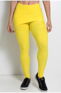 Calça Saia Tecido Bolha (Amarelo) | Ref: KS-F225-010