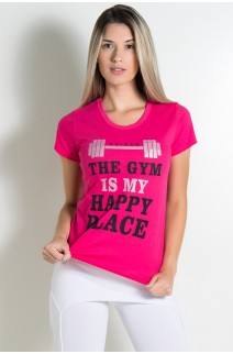 Camiseta Feminina (The Gym is my Happy Place) (Rosa Pink) | Ref: BES002-006