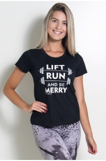 Camiseta Feminina Lift Run and be Merry (Preto) | KS-F236-003
