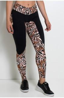 Calça Estampada com Detalhe Liso e Bolso traseiro Estampado | KS-F248