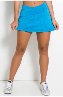 Short Saia Liz Tecido Bolha (Azul Celeste) | Ref: F264-001