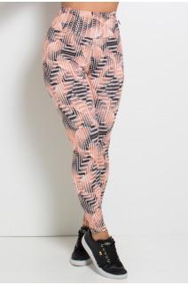 Legging Estampada (Ondulado Preto Laranja e Branco)  | Ref: KS-F27-114