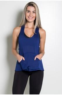 Camiseta Dry Fit com Bolso Marissol (Azul Marinho) | Ref: KS-F273-004
