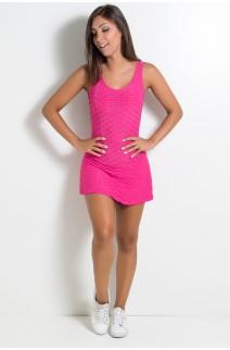 Macaquinho Saia Tecido Bolha (Rosa Pink) | Ref: KS-F287-004