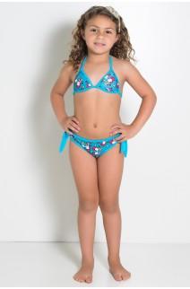 Biquini Infantil Estampado com Bojo (Azul com Ratinhos Vermelhos) | Ref: DVBQ29-004