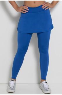 Calça Legging Lisa com Saia Franzida (Azul Royal) | Ref: KS-F315-002