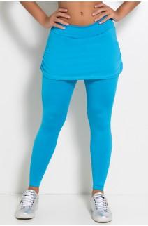 Calça Legging Lisa com Saia Franzida (Azul Celeste) | Ref: KS-F315-005