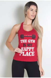 Camiseta de Malha Nadador (The gym is my happy place) (Vermelho) | Ref: KS-F318-003
