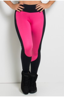 Calça Legging Duas Cores  (Preto / Rosa Pink) | Ref: KS-F34-003