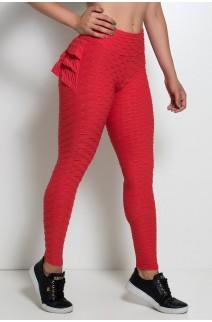 Calça Com Babado Tecido Bolha (Vermelho) | Ref: KS-F348-004