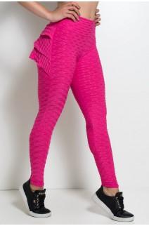 Calça Com Babado Tecido Bolha (Rosa Pink) | Ref: KS-F348-006