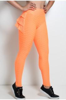 Calça Com Babado Tecido Bolha Fluor (Laranja Fluor) | KS-F349 -002