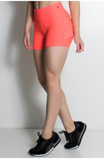 Short Tecido Bolha Com Babado Fluor (Rosa Fluor) | Ref. KS-F355-001