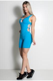 Macaquinho Sabrina Liso com Viés Estampado (Azul Celeste) | Ref: KS-F389-003