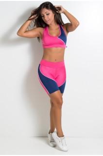 Conjunto Beyoncé (Rosa Pink / Azul Marinho) | Ref: KS-F393-003
