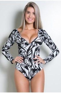 Body Angelina Estampado com Bojo (Preto com Triângulos Brancos) | Ref: KS-F406-001
