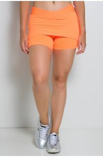 Short Saia Paola Bolha Fluor (Laranja Fluor) | Ref: KS-F417-003