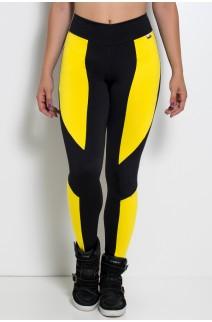 Calça Montaria Duas Cores (Preto com Amarelo) | Ref: KS-F46-004