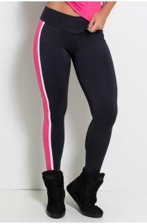 Calça Mayara com Listras (Preto / Rosa Pink / Branco) | Ref: KS-F498-002