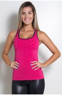 Camiseta Denise Tecido Bolha (Rosa Pink) | Ref: KS-F501-002