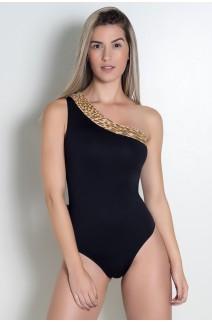 Body Chiquérrima Liso com Detalhe Estampado (Oncinha Marrom Bege e Amarelo) | Ref: KS-F51-002