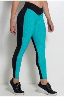 Calça Lisa com Detalhe Tecido Bolha (Verde Esmeralda com Preto) | Ref: KS-F539-001