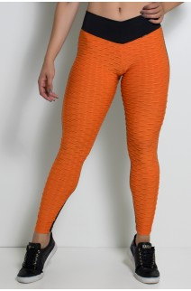 Calça Lisa com Detalhe Tecido Bolha (Laranja com Preto) | Ref: KS-F539-002
