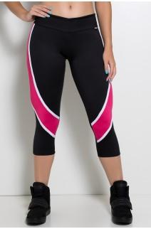 Calça Corsário Candice S. com Listras (Preto + Branco + Rosa Pink) | Ref: KS-F587-002