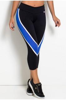 Calça Corsário Candice S. com Listras (Preto + Branco + Azul Royal) | Ref: KS-F587-001