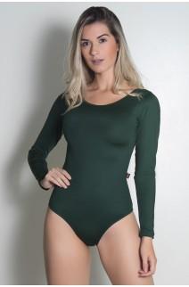 Body Manga Longa com Tiras (Verde Escuro) | Ref: KS-F589-004