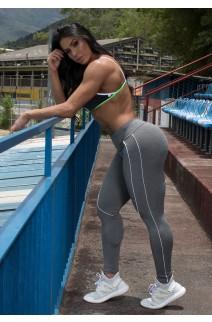 Legging Khloe Mescla com Vivo (Mescla / Branco) | Ref: KS-F599-001