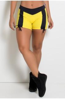 Shortinho Clara Tecido Bolha (Amarelo / Preto) | Ref: KS-F643-002